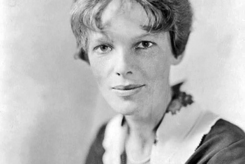 Portrait of American aviation pioneer Amelia Earhart.