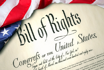 Bill of Rights with American flag