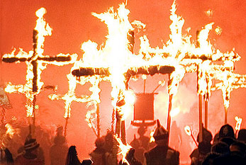 Burning Crosses: Procession of the Martyrs crosses during the Bonfire Night.