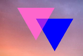 Overlapping pink and blue trianglesa re the symbol of bisexuality.