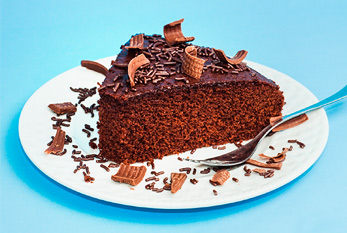 Delicious chocolate cake with sprinkles.
