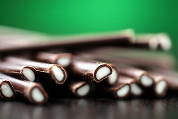 Bars of chocolate, which are filled with mint cream.