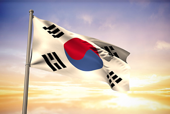 The flag of South Korea.