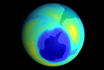 Spectrometer image of the Antarctic in 2001. The dark blue area describes the ozone layer hole.