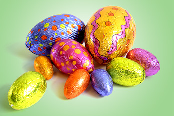 Colorful, glittery Easter eggs.