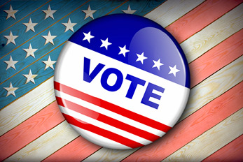 Vote Election Button for USA election