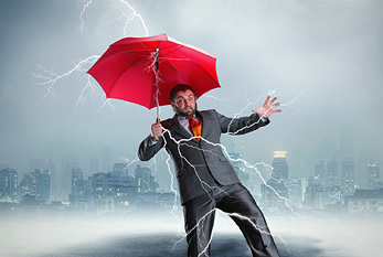 A man with an umbrella who gets thunderstruck on Friday the 13th.
