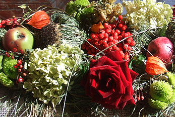 Flowers and fruits as decoration for the German Harvest Festival.