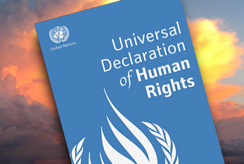 A book cover for the Universal Declaration of Human Rights.
