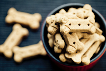 A bunch of dog biscuits.