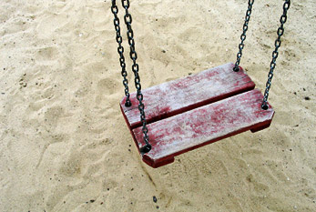 Abandoned swing as a symbol of the missing child