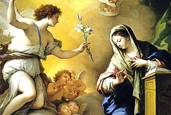 The Annunciation. The white lily in the angel's hand is symbolic of Mary's purity.