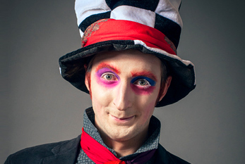 "Young man in the image of the Crazy Hatter from ""Alice's Adventures in Wonderland"""