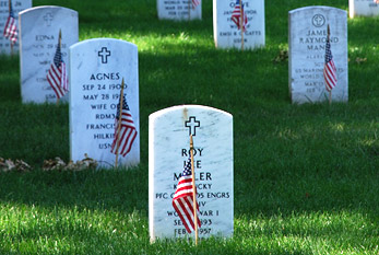 The gravestones at Arlington National Cemetery are graced by U.S. flags on Memorial Day weekend.