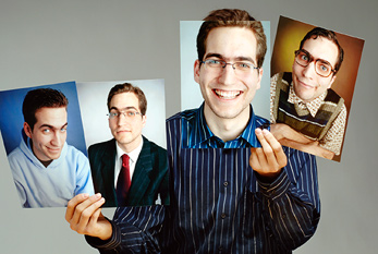 A man showing multiple personalities of himself on pictures.