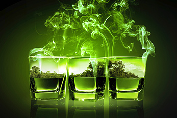 Three glasses of Absinthe.