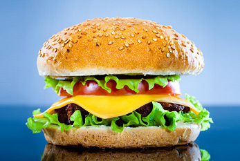 Tasty and appetizing cheeseburger.