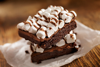 Rocky Road Brownies with Marshmallows and Melted Chocolate