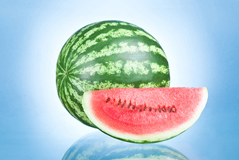 Ripe Watermelon and Slice isolated on a blue background