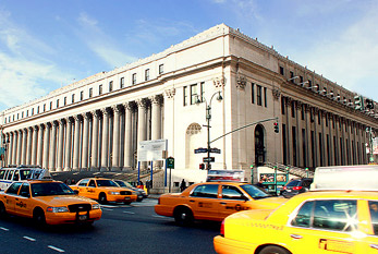 James Farley Post Office Building during rush hour