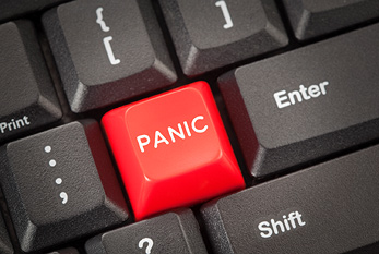 A red panic button on a keyboard, which can be pressed on Panic Day.