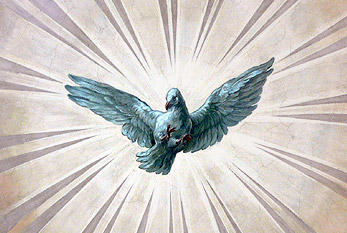 The Holy Spirit depicted as a dove.