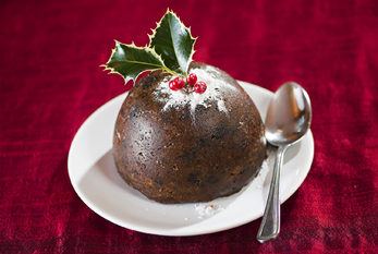 A plum pudding on Plum Pudding Day.