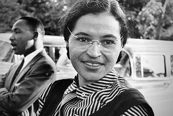 Photograph of Rosa Parks with Dr. Martin Luther King jr. (ca. 1955)