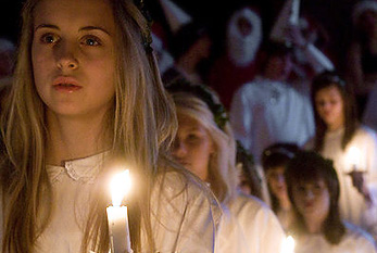 A girl in the Lucia procession in Sweden