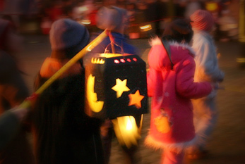 Children with paper lanterns on St. Martin's Day.