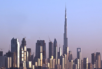 Skyline of Dubai with Burj Khalifa.