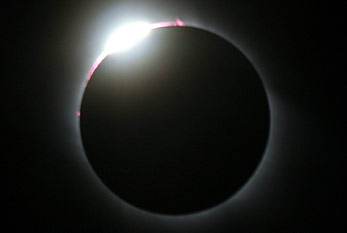 Diamond ring effect during a solar eclipse.