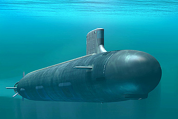 Virginia-class attack submarine under water.