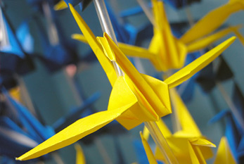 Some origami decorations which are characterisitc for Tanabata Festival in Sendai Japan