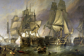 Painting of the Battle of Trafalgar