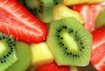 Chopped Fruit Salad with strawberries and kiwi on Tu Bishvat.