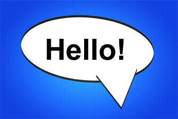 "Speech bubble with the English word ""Hello!""."