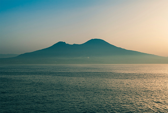 View of Mt. Vesuvius from the ocean.