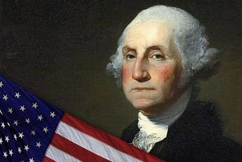 George Washington with US flag.