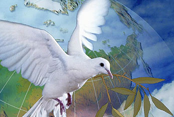Peace dove with olive branch.